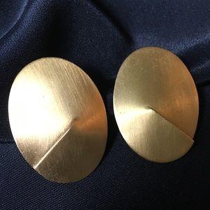 Vintage Large Brass Modernist Oval Stud Earrings
